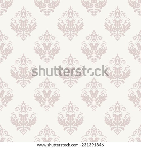 Oriental vector pattern with damask, arabesque and floral elements. Pink seamless abstract background - stock vector