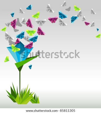 Origami Abstract Background Paper Butterflies And Flower