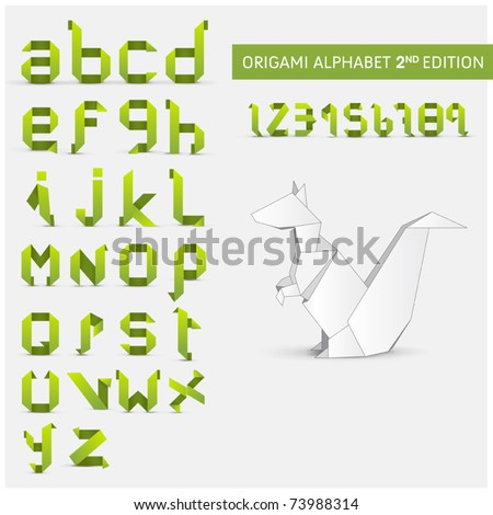 Origami alphabet letters and numbers  with origami object  Second version - stock vector