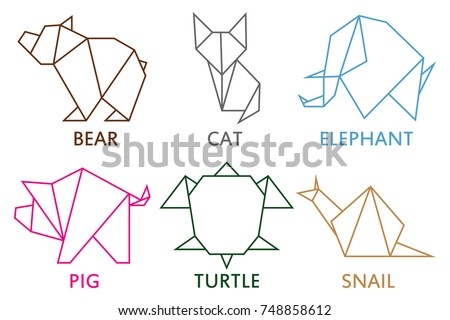 Origami Animals Collection Set Of Line Geometric Shape For Art Folded Paper Template