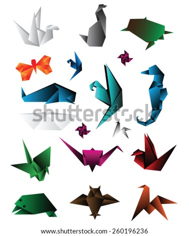 origami animals vector illustration - stock vector