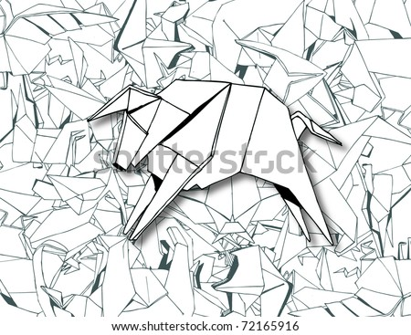 Origami Background (retro vector) - stock vector