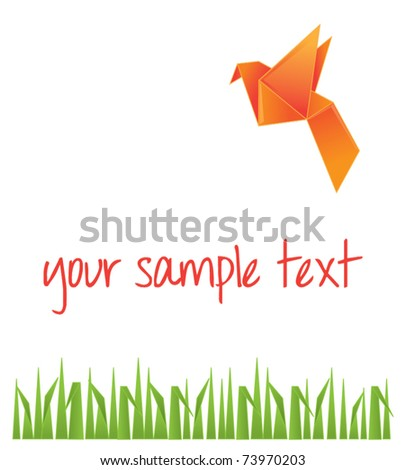 Origami background with paper bird and grass vector illustration - stock vector