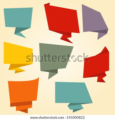 Origami banner speech bubble. Vector - stock vector
