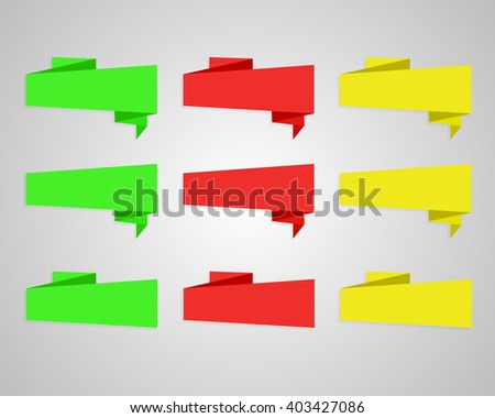 Origami banners. Set red green yellow  speech bubble  - stock vector