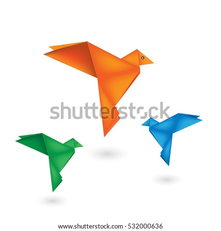 Origami bird paper on white background, eps 10.
