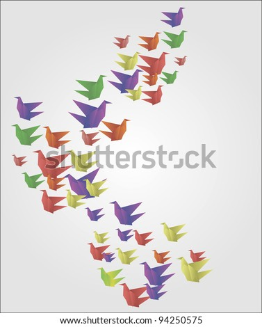 Origami Birds - stock vector