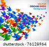 origami birds abstract background - stock vector