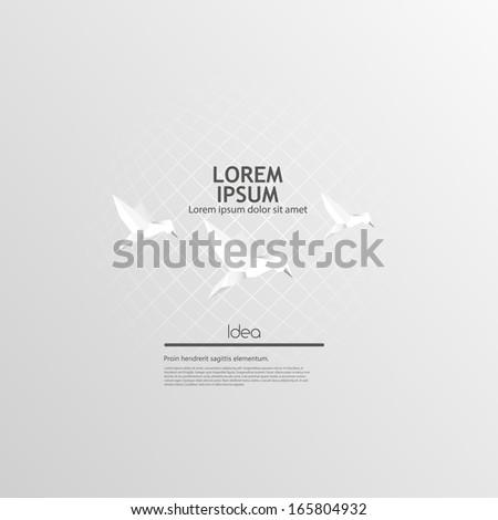 Origami birds flying. Vector Background Design - stock vector