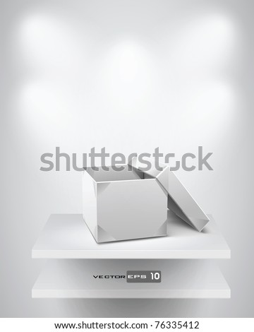 Origami Box on Shelf. EPS 10 Vector Background. - stock vector