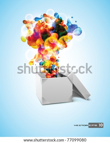 Origami Box with Abstract Bubbles. EPS 10 Vector. - stock vector