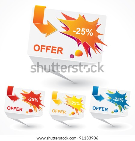 Origami bubble style vector price tag set with catchy design - stock vector