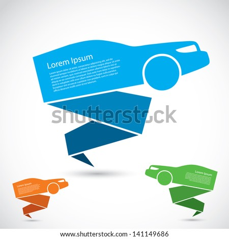 Origami car banner - vector illustration - stock vector