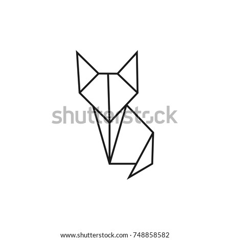 Origami Cat Geometric Line Shape For Art Of Folded Paper Logo Template Vector