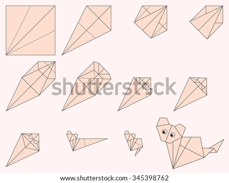 Origami Cat Illustration And Instruction How To Make Kitten