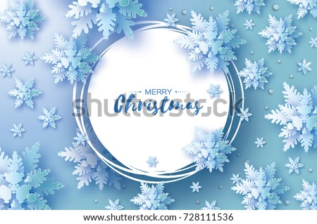 Origami Christmas Greetings card. Snowfall. Paper cut snow flake. Happy New Year. Winter snowflakes background. Circle frame. Space for text. Blue. Holidays. Vector illustration.