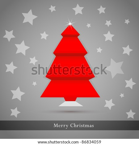 Origami Christmas Tree Made From Paper. Vector Illustration.