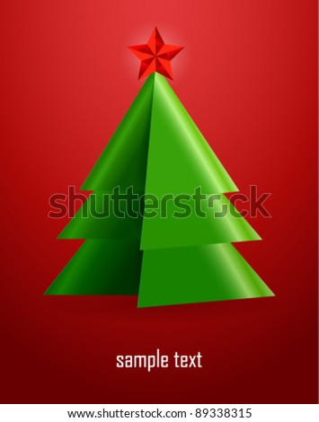 Origami Christmas tree. Vector postcard.