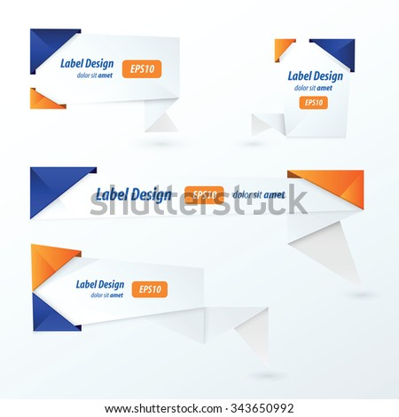 Origami 2 color style label set,  blue and orange color - stock vector