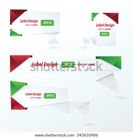 Origami 2 color style label set, Christmas style - stock vector