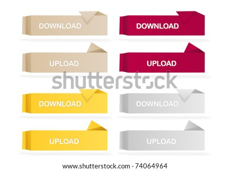 Origami colored web buttons - stock vector