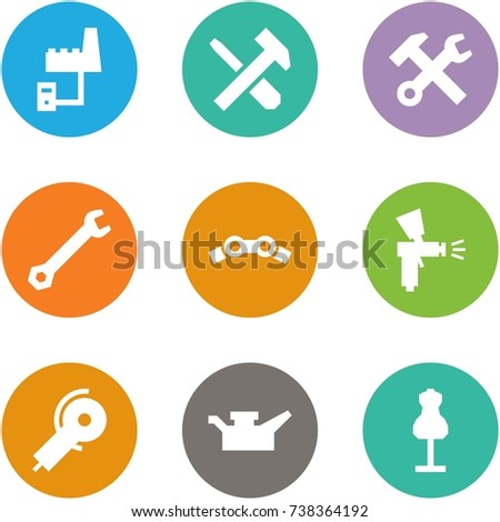 Origami Corner Style Icon Set Factory Stock Vector 738364192