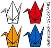 Origami crane - stock vector