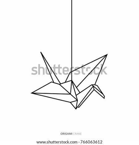 Origami Crane Outline In Traditional Japanese Graphic Design Concept