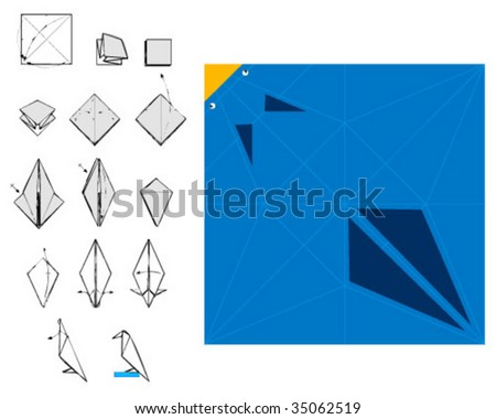 origami crate with instructions - stock vector