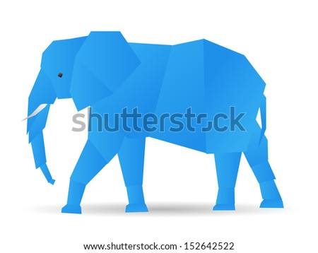 origami cute elephant in blue - stock vector