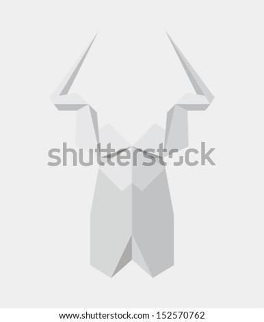 Origami deer - stock vector