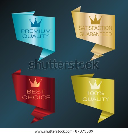 Origami design labels - stock vector