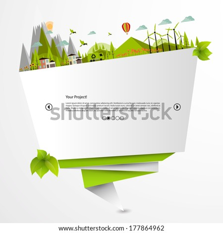 Origami Eco Website  - stock vector