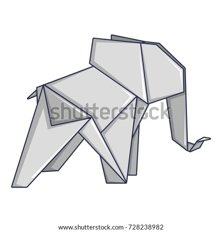 Origami Elephant Icon Cartoon Illustration Of Vector For Web