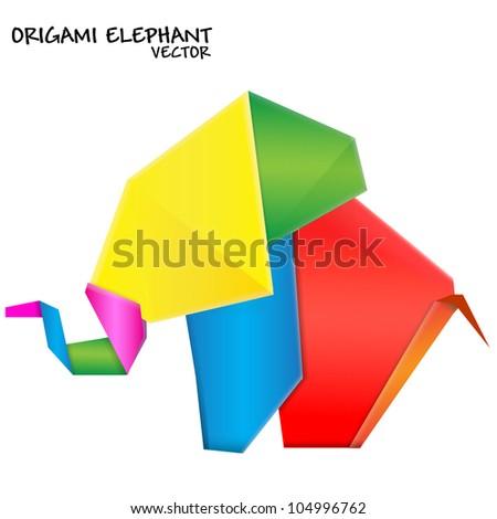 Origami elephant. Vector - stock vector