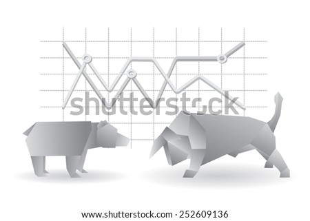 Origami geometrical bear and bull vector illustration with graph. Stock market exchange concept. - stock vector