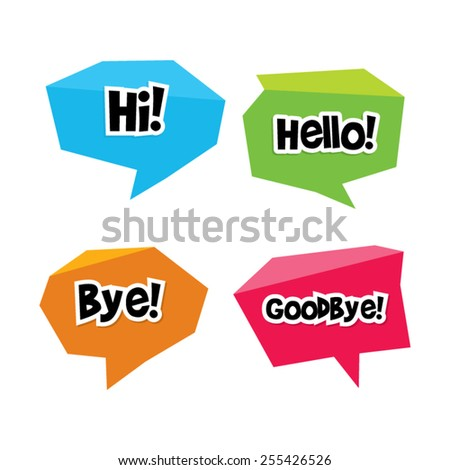 Origami Greetings Speech Bubbles - stock vector