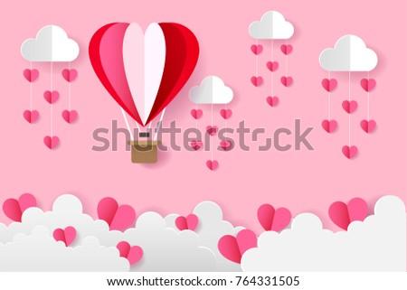 Origami Heart Balloons On Sky Heart Stock Vector 764331505 ...