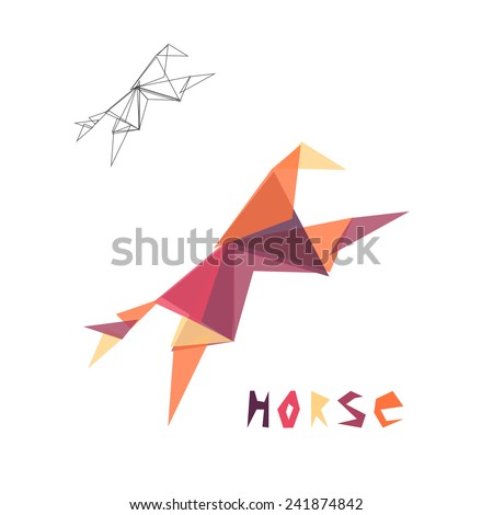 Origami horse. Triangle geometric shapes abstract animal.