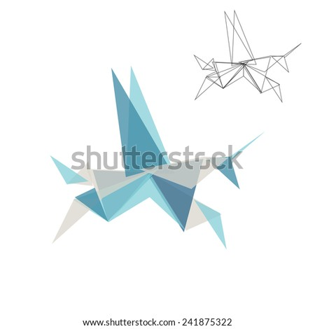 Origami horse. Triangle geometric shapes abstract animal unicorn. - stock vector