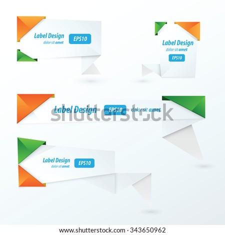 Origami label design, orange, green, blue - stock vector