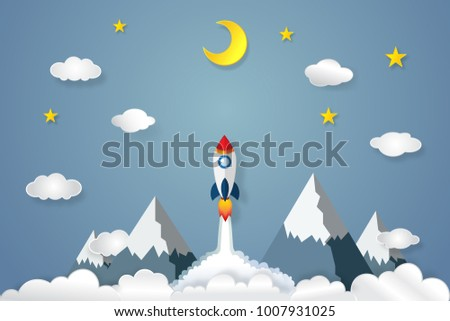 Origami Layer Skyscape Of Mountain Rocket Launch Flying Half Moon Stars And Clouds