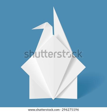 Origami Letter Crane - stock vector