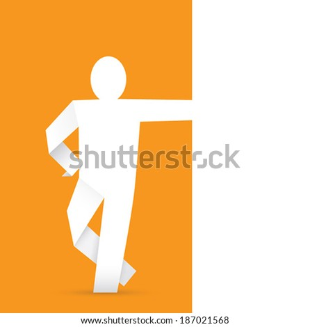 Origami Man Against The Paper Wall Place For Your Text Background Color Can
