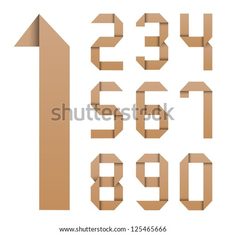 Origami number recycled paper craft on white - stock vector