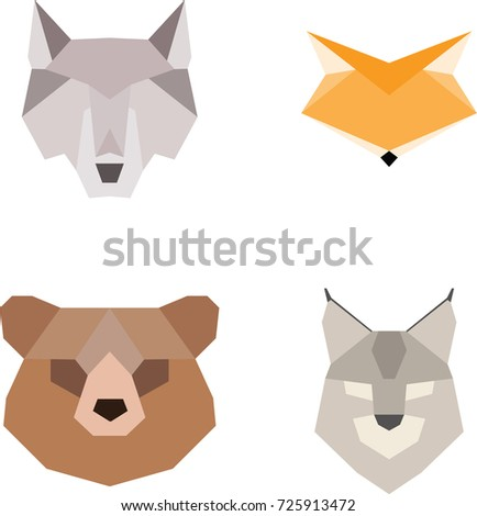 Origami Paper Animals Vector Set In Flat Style Wolf Bear Fox Lynx