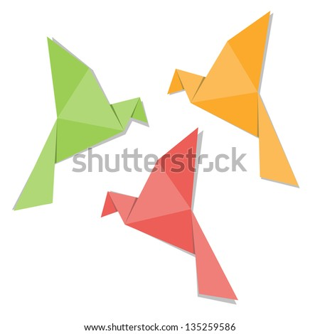 Origami paper bird isolated on white background