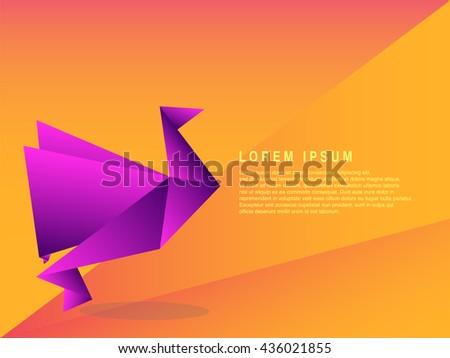 origami paper bird vector illustration template stock vector