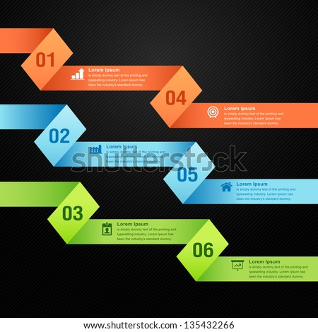 Origami paper numbered banners color vector info graphics