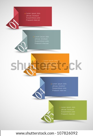 Origami paper numbered banners .Trendy design template - stock vector